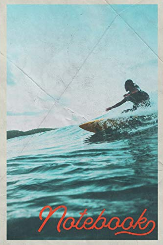 Notebook: Surfer Dude Professional Composition Book Journal Diary for Men, Women, Teen & Kids Vintage Retro Design Sunrise Surf