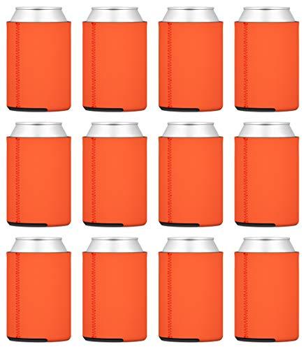 TahoeBay 12 Neoprene Can Sleeves for Standard 12 Ounce Cans Blank Beer Coolers (Orange, 12)