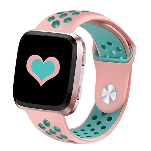 DEKER for Fitbit Versa Bands for Women Men Small Large Wrist, Breathable Soft Fitness Sport Silicone Strap Replacement Accessories Wristbands for Fitbit Versa Smart Watch (Pink/Teal, Small)