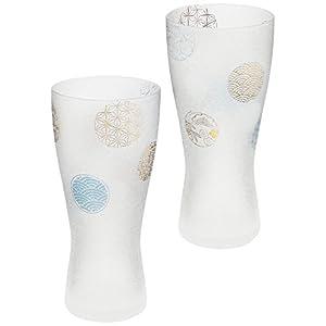 アデリア ビールグラス ブルー 310ml プレミアムニッポンテイスト丸紋 ビアグラス(泡づくり機能付) ペアギフト 日本製 S6212