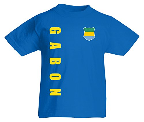 Gabun Gabon Kinder T-Shirt Trikot Wunschname Wunschnummer (Royalblau, 164)