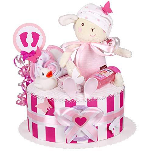 MomsStory - Windeltorte Mädchen | Schaf Spieluhr | Baby-Geschenk zur Geburt Taufe Babyshower | 1 Stöckig (Rosa-Pink) mit Baby-Spielzeug Lätzchen Schnuller & mehr