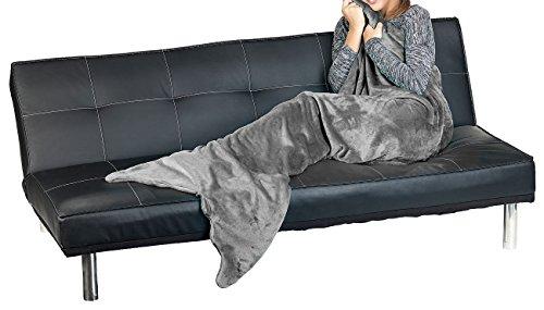 Wilson Gabor Flossendecke: Weiche Meerjungfrau-Decke mit Flosse für Erwachsene, 180 x 70 cm, grau (Schlupfdecke für Erwachsene)