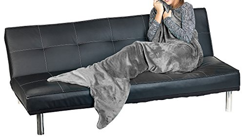 Wilson Gabor Flossendecke: Weiche Meerjungfrau-Decke mit Flosse für Erwachsene, 180 x 70 cm, grau (Meerjungfrau-Decke Fleece)