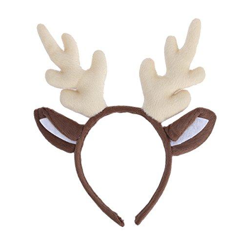 LUOEM Rentier Geweih Stirnband Rentier Geweih Haarband Weihnachten Kinder Stirnband Headwear für Weihnachten Kostüm Party