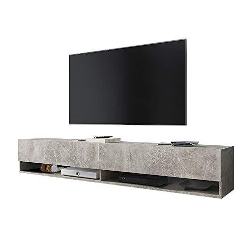 Selsey Wander - Mueble TV Suspendido/Mesa TV/Mueble para Salón (180 cm, sin LED, Cemento Gris)