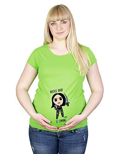 Colour Fashion Maternité T Shirt Alita Battle Angel Imprimé Doux Grossesse Coton Hypoallergénique - Pomme Verte, XXL