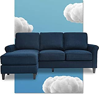 Serta Harmon Reversible Sectional Sofa Living Room, Modern L-Shaped 3 Seat Fabric Couch, Rolled Arm, Dark Blue (B07WXF16MZ) | Amazon price tracker / tracking, Amazon price history charts, Amazon price watches, Amazon price drop alerts