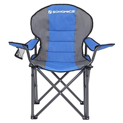 SONGMICS Campingstuhl, klappbar, Klappstuhl, komfortabler mit Schaumstoff gepolsterter Sitz, mit Flaschenhalter, hoch belastbar, max. Belastbarkeit 250 kg, Outdoor Stuhl, blau GCB06BU