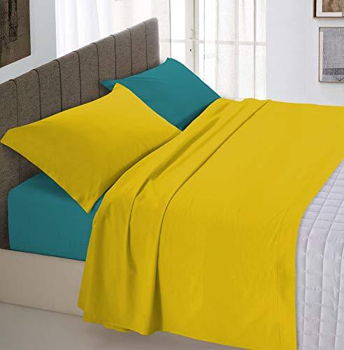 Italian Bed Linen Natural Color Completo Letto Doppia Faccia, 100% Cotone, Giallo (Ocra/Verde Bottiglia), Singolo, 3 Unità