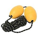Alomejor1 Kayak Boya Boya Bola Flotador Correa y Gancho de Acero Inoxidable para Sistema de Anclaje de Deriva de Pesca Kayak Tow Rope Line Booy(Doble Bola Amarilla Cuerda Negra)