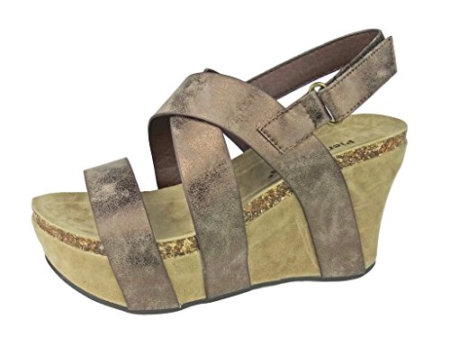 Pierre Dumas Women's Hester-5 Vegan Leather Strappy Wedge Sandals,Bronze,11