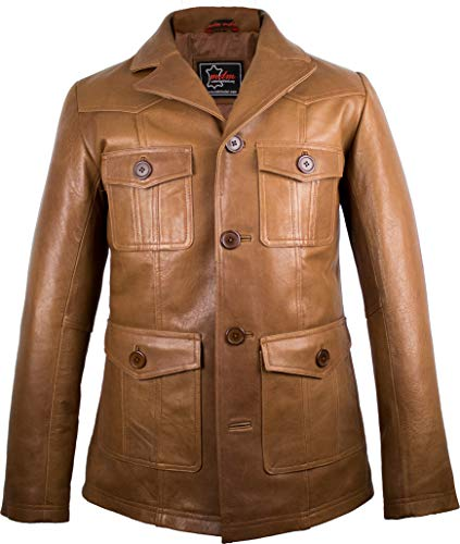 Herren Lederjacke aus weichem Rindnappaleder, 70er Jahre Style (4XL)