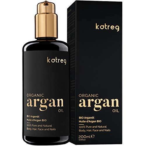 KATREG Huile d'Argan Bio Argan Oil - Sérum de Soin Naturel pour Peau, Cheveux, Barbe et Ongles - Argan Pressée à Froid au Maroc Hydratante Riche en Vitamine E et Antioxydant Bouteille en Verre 200 ml