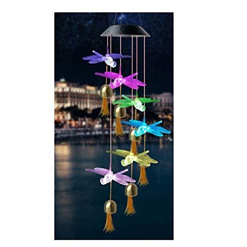 Haonan - Color de carillón de viento solar, campanillas de viento cambiantes, mariposa LED impermeable decoración colgante, para patio, jardín, vacaciones, interior, hogar, decoración de oficina