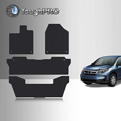 TOUGHPRO Floor Mat Accessories 1st + 2nd + 3rd Row Compatible with Honda Pilot - All Weather - Heavy Duty - (Made in USA) - Black Rubber - 2016, 2017, 2018, 2019, 2020, 2021