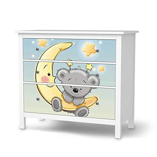 creatisto Möbel-Folie für Kinder - passend für IKEA Hemnes Kommode 3 Schubladen I Tolle Möbeldekoration für Baby-Zimmer Deko I Design: Teddy und Mond