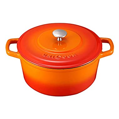 Unicook Enameled Cast Iron Dutch Oven 5 Quart Round Cast Iron Pot Roaster, Heat Retention Cookware, Perfect for Preparing Slow Cooked Meals Casserole, Oven Safe, 10in Diameter, 14lbs, Color-Flame