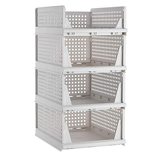 Pinkpum Stackable Plastic Storage Basket-Foldable Closet Organizers Storage Bins 4 Pack-Drawer Shelf Storage Container for Wardrobe Cupboard Kitchen Bathroom Office 1S+3L