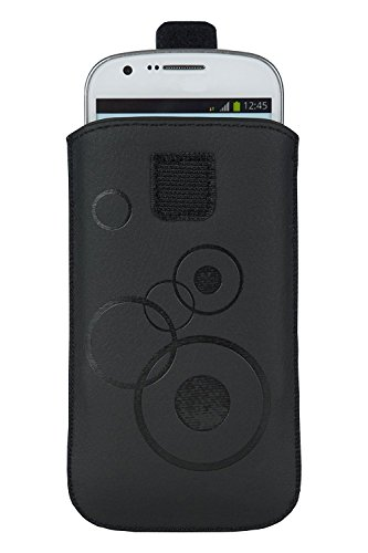 Handytasche Circle schwarz geeignet für Huawei Y6 (2018) - Handy Tasche Schutz Hülle Slim Hülle Cover Etui mit Klettverschluss