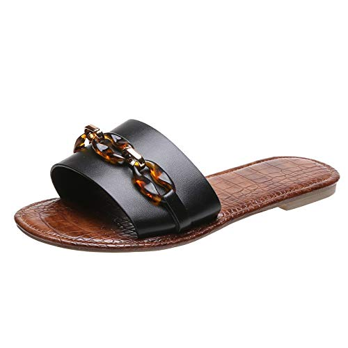 Yuanjay Women's Flat Shoes Non-Slip Quick Drying Open Toe Breathable Indoor Outdoor Diamond Slip on Slippers Black 38