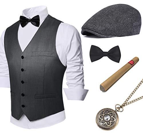 Coucoland 1920s Accessoires Herren Mafia Gatsby Kostüm Set inklusive Panama Gangster Hut Herren Weste Halsschleife Fliege Taschenuhr und Plastik Zigarre (Dunkelgrau, L)