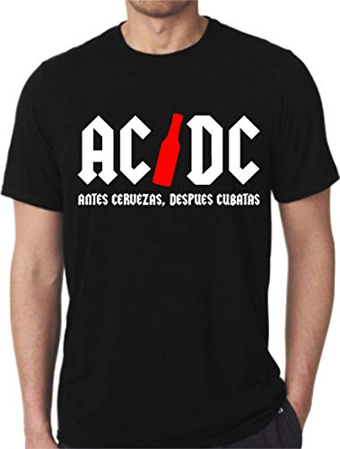 """Divertida Camiseta Personalizada con diseño """"AC/DC Antes Cervezas,despues cubatas (XXL)"""