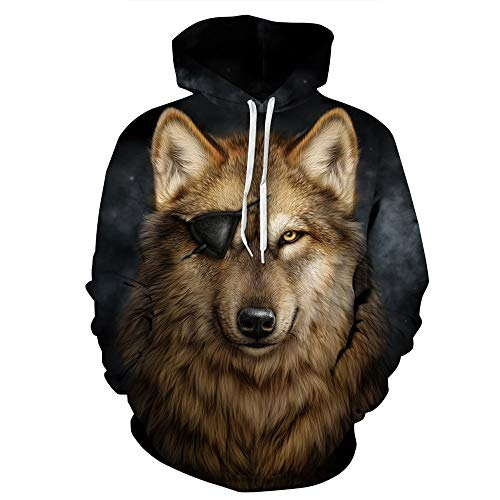 XINGMU New Hoodie Brille Wolf Paar Stil 3D-Digitaldruck Langarm-Sweatshirt Baseball-Uniform-L/XL
