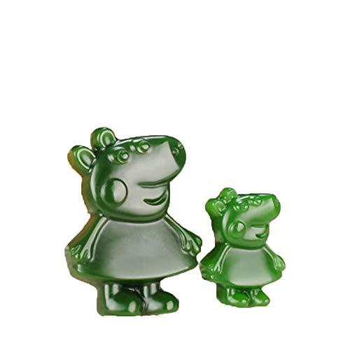 ZHIBO Un par de Collar Colgante de Jade Natural de xinjiang hetian Jade Peppa Pig Colgante Jasper Padre-Hijo