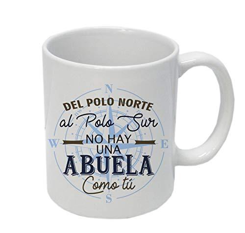 Taza Regalo Divertida con Caja Decorativa Dia de Las Abuelas y Abuelos. Taza para Abuelas A la Mejor Abuela del Mundo Mundial del Planeta