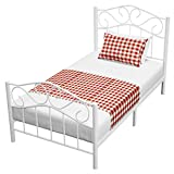 mecor Twin Curved Metal Bed Frame / Mattress Foundation/Platform Bed for Kids Girls Boys with Steel Headboard Footboard,No Box Spring Needed,White/Twin Size