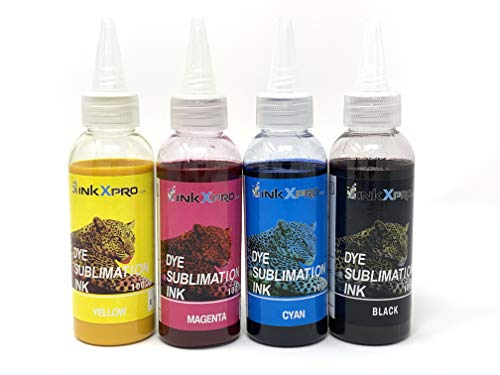 INKXPRO 4 X 100ml Professional True Color Sublimation Ink Refills for EcoTank printers, C88+ Workforce 3620 3640 7510 7520 7610 7620 7710 7720 7210 (for Sublimation Printing, ICC Profile Available)