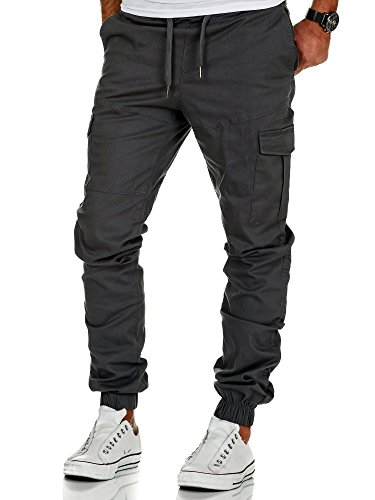 Amaci&Sons Herren Stretch Jogger Cargo Chino Jeans Hose 7006 Anthrazit W32