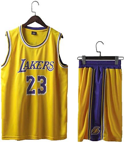 Traje de Baloncesto Jersey Lebron James # 23 Lakers de Baloncesto, Traje de Baloncesto Mangas de los Hombres Pone en Cortocircuito la Aptitud del Entrenamiento L-5XL