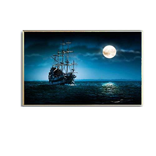 Luna noche barco océano mar paisaje pared arte lienzo póster e impresión lienzo pintura imagen para decoración de sala de estar 60x80cm sin marco artppolr
