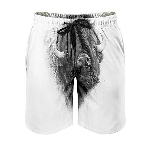 Dessionop Bañador para hombre monocromo Bison Pintura, traje de baño con forro para vacaciones, color blanco, XL