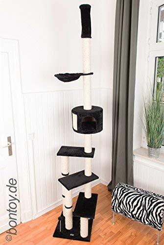 Bontoy Kratzbaum Pascha Deckenhoch mit 3 Ebenen 240-260cm schwarz, Sisalstämme mit 9cm Durchmesser, für Deckenhöhe von 240-260cm, weitere Deckenhöhe auf Anfrage