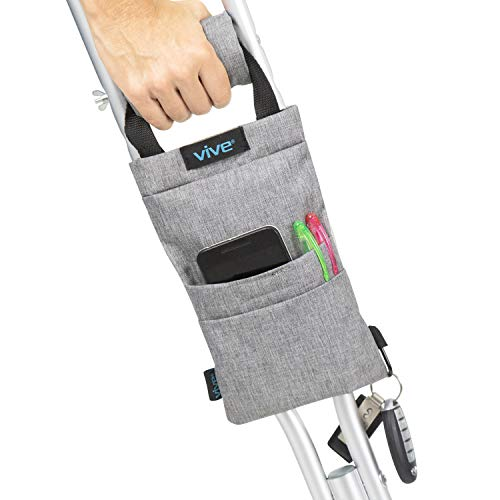 Vive Crutch Pouch - Bag with Foam Hand Grip Pads - Tote for Broken Leg Crutches with Storage Pockets - Ergonomic, Orthopedic, Lightweight Carry On - Medical Forearm Crutch Accessories (Gray)