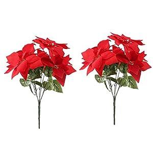 Artificial Red Flowers Silk Poinsettia Bouquet Fake Christmas Decorative Flowers for Home Party Floral Arrangement 2Pcs