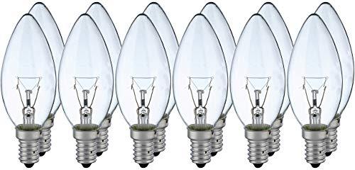 12x Lampe 40W E14 Kerze klar weiß klassische Glühlampe