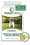Primary Pets Olio di Pesce Omega per Cani. 120 (1000mg) Softgels. Omega 3 6 9 per Pelli secche, allergie, rigide articolazioni e Funzione cerebrale