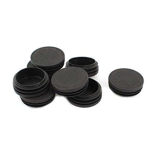 Plástico Redondo Tubería Tubo Inserción Tapón Tapón 50mm Dia Negro 8 Piezas