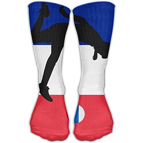 ouyjian Unisex Athletic Socks Ankle Socks Casual Sport Socks France Flag with Russia Football Breathable Crew Socks 30cm