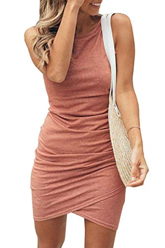 BTFBM Women Casual Crew Neck Ruched Sleeveless Tank Bodycon 2020 Shirt Short Mini Dresses (106Pink, Small)