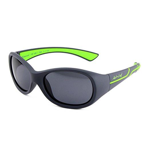 ActiveSol Occhiali da sole sportivi per bambini | da bambina e da bambino | 100% protezione UV 400 | polarizzati | indistruttibili di gomma flessibile | 5-10 anni | solo 22 grammi [Grigio/Verde]