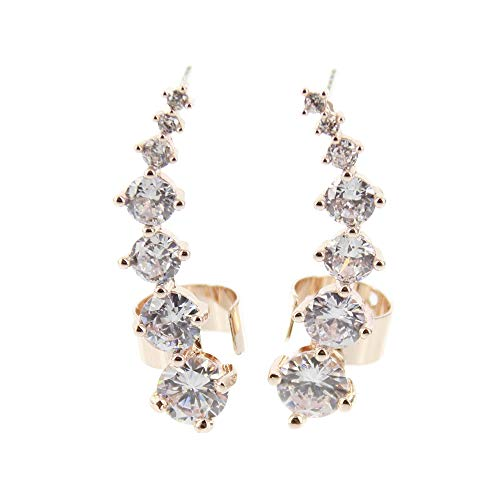 Charming Charlie Women's Ear Crawler Cuff Earrings w/Cubic Zirconia Stones - Post Top, Classic Jewelry - Rose Gold