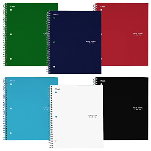 Five Star Wirebound Notebook, 3-Subject, 150 College Ruled Sheets, Assorted Colors (Pack of 6)