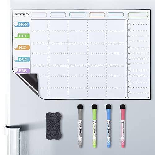 POPRUN Magnetisch Familienplaner Wochenplaner Magnettafel Kühlschrank abwischbar,Whiteboard Kalender,Terminplaner - 43 x 28 cm auf Deutsch