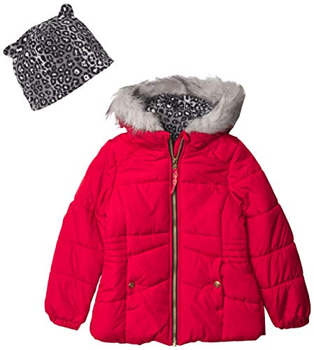 Jessica Simpson Girls' Expedition Parka, Red/Hat, 10/12