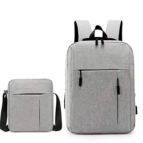 LENASH Gli Uomini viaggiano backpackagini Portatili + Borse a Tracolla Set Sacchetto della Scuola dello Studente Borsa del Computer Impermeabile Borse per Laptop. (Color : Gray)